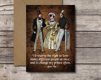 Polyamory Vintage Greeting Card / I Reserve the Right to Love Many Different People at Once & Change My Prince Often / Open Relationship JPG