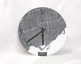 "TORONTO MAP ART Wall Clock - Unique Contemporary Art Wall clock - 11"" and 16"" Diameter"