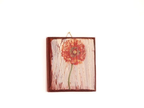 Red Poppy Wall Decor Rustic Decor Red Flower Wall By Woodlandhut
