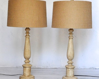 Cottage Table Lamps: Set of Two TABLE LAMPS Distressed Creme Cottage Chic Weathered Burlap  Lampshades Hand Painted Annie Sloan Chalk Paint,Lighting