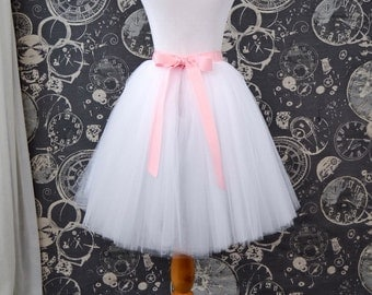 White Tulle Skirt - Adult Knee Length Tutu with Pink Ribbon Waist and Ties - Custom Size - Made to Order