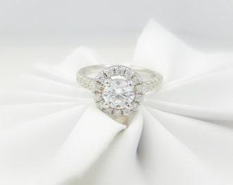 14k Diamond Ring Semi- Mount Engagement Ring Custom Halo Setting