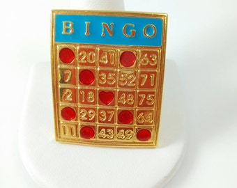 Bingo Card Brooch- Vintage Pin Bingo Card w/ Red Stones Gold Tone E3