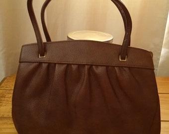Brown Handbag - Vintage 1960s Chocolate Brown Handbag Purse, Snap Closure, Gold Tone Hardware