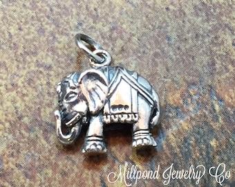 Elephant Charm, Lucky Elephant Charm, Indian Elephant Charm, Sterling Silver Charm, Silver Pendant, PS01235