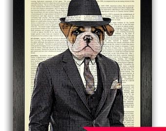 DICTIONARY PRINT Bulldog in Pinstripe Suit, Dog Art Print Decor, Funny Dog Gift for Boyfriend, Gift for Man, Bulldog Dictionary Print Art