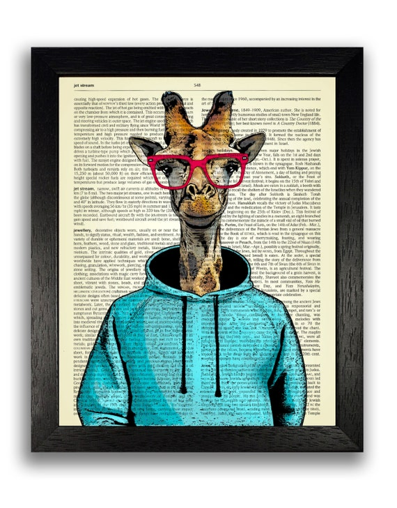 Giraffe In Blue Hoodie With Red Glasses Dictionary Art Print