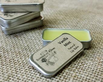Vanilla Mint Lip Balm - Beeswax Lip Balm - All Natural Lip Balm - Organic Lip Balm - Homemade Lip Balm - Lip Balm Tin - Slider Tin
