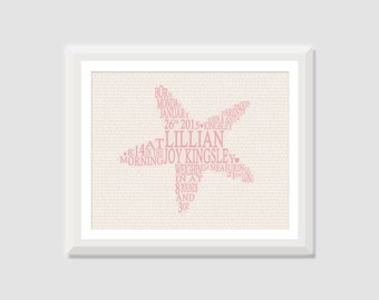 Starfish Birth Announcement Wall Art, Baby Birth Stats Print, Baby Girl Nautical Nursery, Beach Nursery, Starfish Nursery Art, Kids Wall Art