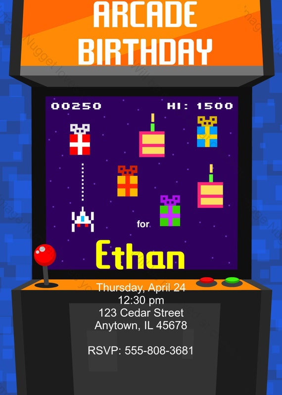 arcade de jeux vid o 8 bits birthday party invitation. Black Bedroom Furniture Sets. Home Design Ideas