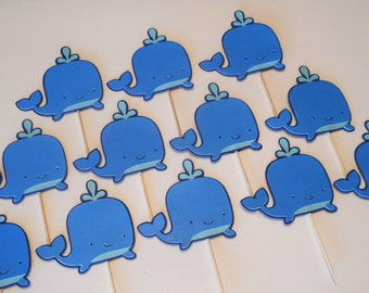 Blue Whale Cupcake Toppers 1st Birthday Baby Shower Nautical Ocean