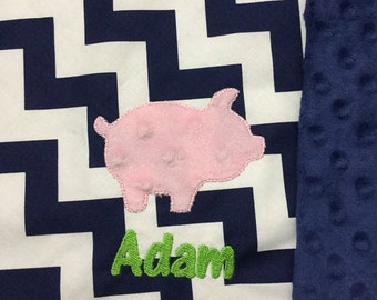 Pig Baby Blanket   Farmer Baby Blanket   Personalized Pig Baby Blanket   Pig Blanket   Farming Baby Blanket