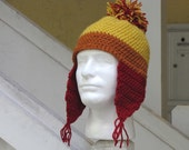 Gold, Orange, and Burgundy Winter Hat with Ear Flaps and Pom Pom // Inspired by Firefly's Jayne Cobb // Handmade