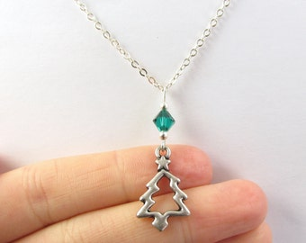 Christmas Tree Necklace- choose a birthstone, Christmas Tree Jewelry, Tree Necklace, Birthstone Tree, Christmas Necklace, Xmas Jewelry