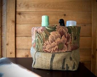 Coffee Bean Burlap Sack Bag Tote Basket Bin With Floral Lining// Home Decor, Kitchen, Desk, Bathroom, Vanity Birthday Gift