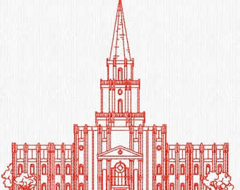Houston Texas LDS Temple, Redwork Embroidery Design, digital instant download file.