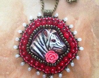 Handmade Polymerclay Zebra Pendant