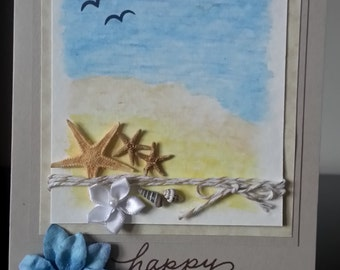 Handcrafted Birthday Card - Seascape with Starfish and Seashells