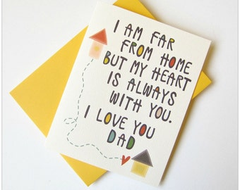 Dad birthday card, Father's day card, Dad card, Father card, I love you Dad, Card for Dad, Far from home