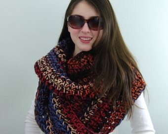 Hand-knitted Chunky Oversized Infinity Cowl Scarf in Brown, Orange, Blue, Cream