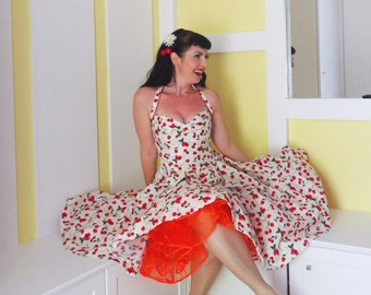 Pinup dress 'Sunkissed Cherries' Cherry dresss, Rockabilly dress, 50s dress