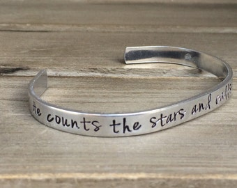 He Counts the Stars and Calls Them By Name Psalm 147 Bible Verse Bracelet Scripture Bracelet Hand Stamped Aluminum Brass Copper Cuff