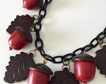ACORN Amazing 1940's Vintage Inspired Wooden Acorn Leaf Necklace Reproduction Jewelry