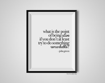 What Is The Point Of Being Alive, John Green, Quote Print, Quotation Print, Black & White, Art Poster, Modern Poster, Art Print