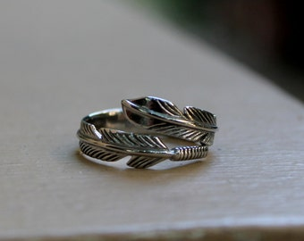 Feather Band Ring, Stainless Steel 316L. Adjustable Ring, Free Size Ring!