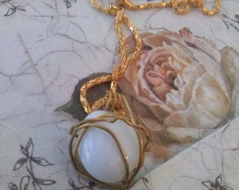 Artistic wire wrapped Pendent white glass center gold plated Necklace