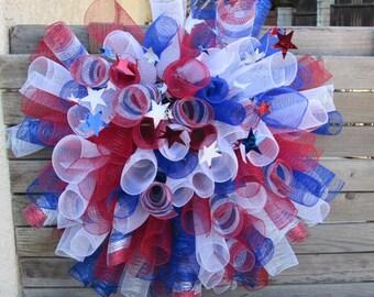 3' Fourth Of July Wreath 4th Of July Deco Mesh Wreath Patriotic Wreath Red White Blue Deco Mesh Wreath Star Wreath July 4th Decor