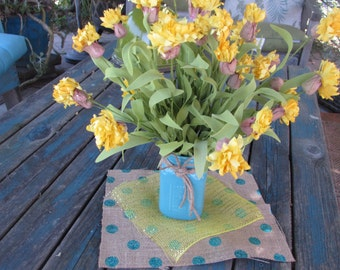Summer Centerpiece Floral Centerpiece Floral Arrangement Spring Centerpiece Floral Table Decor Aqua Yellow Table Decor Mason Jar Decor