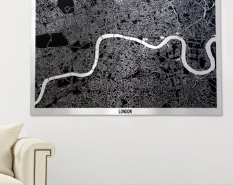 Metal London Art Map - Black on Aluminium
