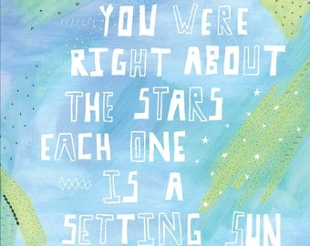 you were right about the stars watercolor wilco typography 8x10 or 11x14 print
