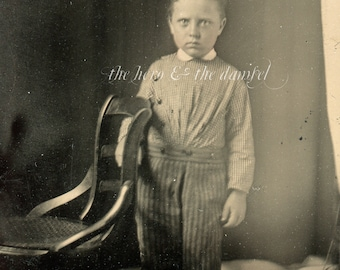 Ghostly child // Original antique identified tintype of little boy in striped pants // Victorian boy portrait, eerie lighting in room