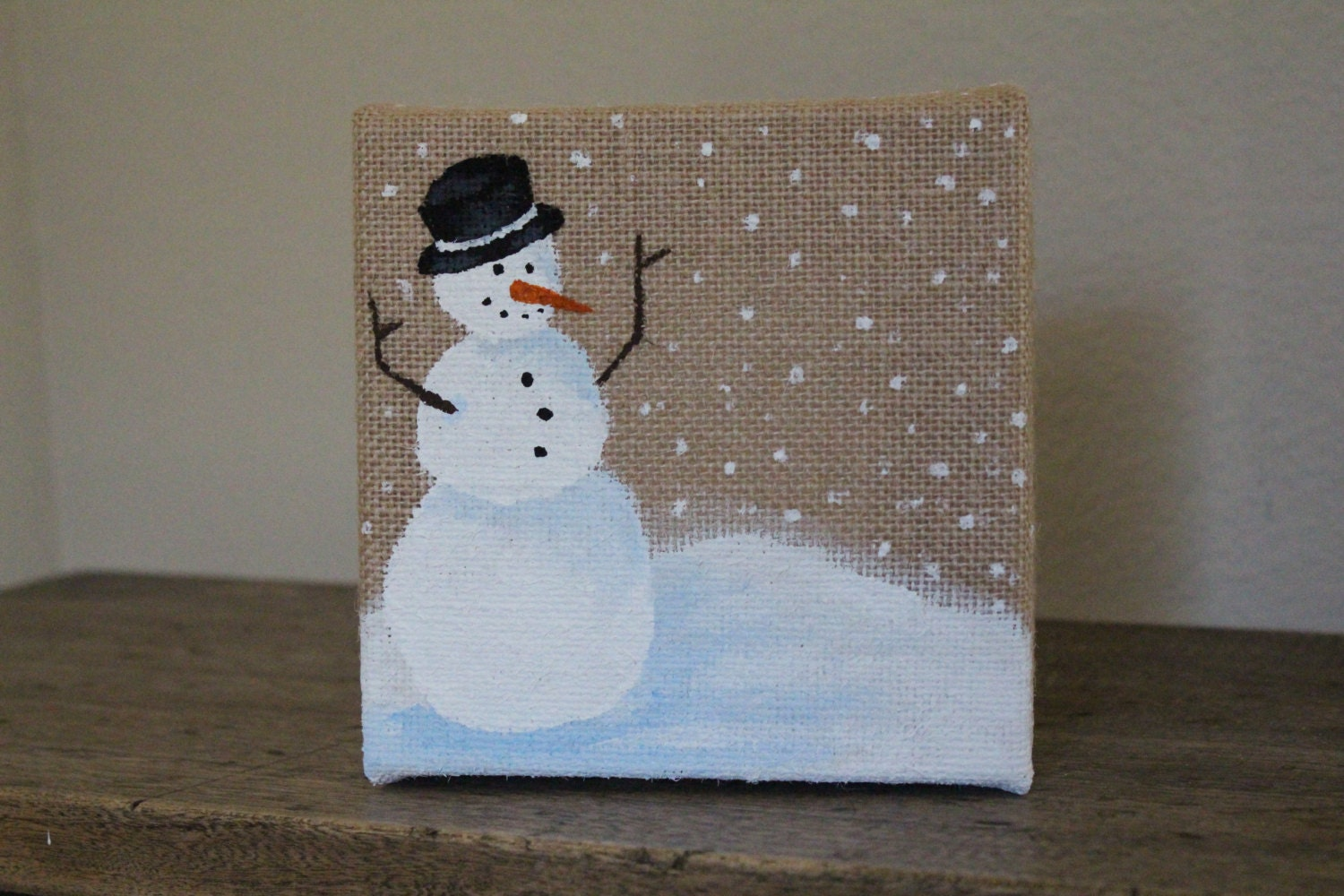 Rustic burlap snowman painting by homeheartstudio on etsy for Snowman made out of burlap