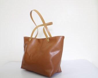 Vegan Leather  Handbag Tote almond, tote bag, vegan leather bag, canvas bag, leather straps, christmas,
