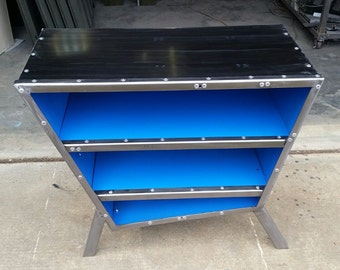 Jetsons Inspired Vintage Steel Trapezoid Cabinet
