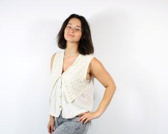 Vintage Crochet top Beige Bohemian top Sleeveless shirt Tank top Vest Button Up Summer Shirt Boho Hippie Oversized Natural / Large