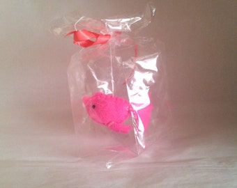 Pink guppy fish - The Ultimate Pet, Fish in a bag, vegan.