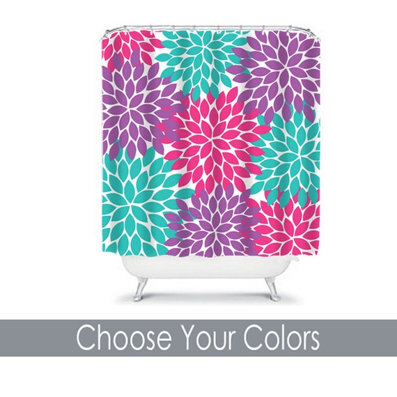 Items similar to purple pink turquoise shower curtain girl for Pink and blue bathroom accessories