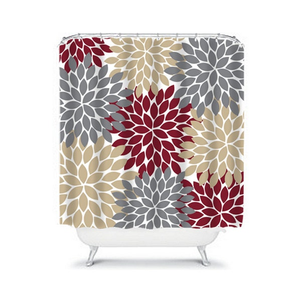 Dark Red Gray Tan SHOWER CURTAIN Flowers Custom By
