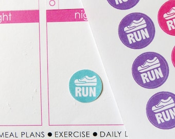63 Run Stickers for Erin Condren Planner, Filofax, Plum Paper