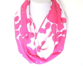 Hot Pink Scarf, Geo Print Scarf, Pink Infinity Scarf, Hostess Gift, Birthday Gift, Transitional Scarf