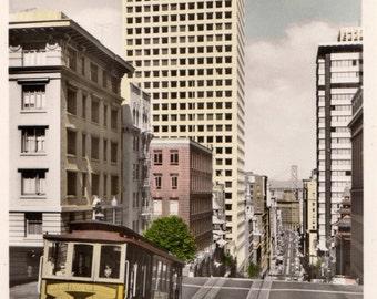 San Francisco vintage postcard. . Vintage city postcard.