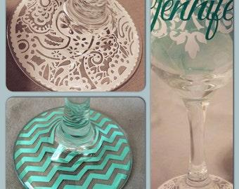 CUSTOM wine glass * vinyl decorated wine glass * 6 options for bottom design