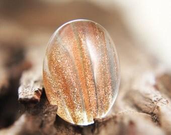 Gemstones - Gold Sand Quartz Cabochon - oval 25mm x 18mm