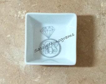 Glitter Monogrammed Diamond Ring Jewelry Dish - Monogrammed Ring Dish - Jewelry Holder - Ring Bowl - Bridal Gift