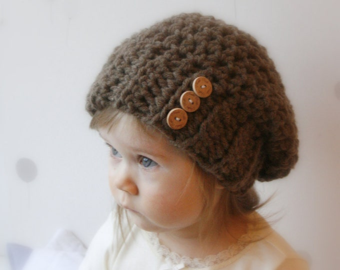 CROCHET PATTERN basic slouchy hat Addison (baby, todddler, child, adult sizes)