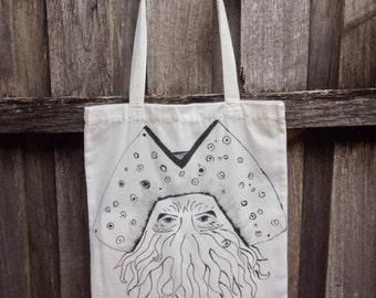 Hand painted tote bag Davy Jones